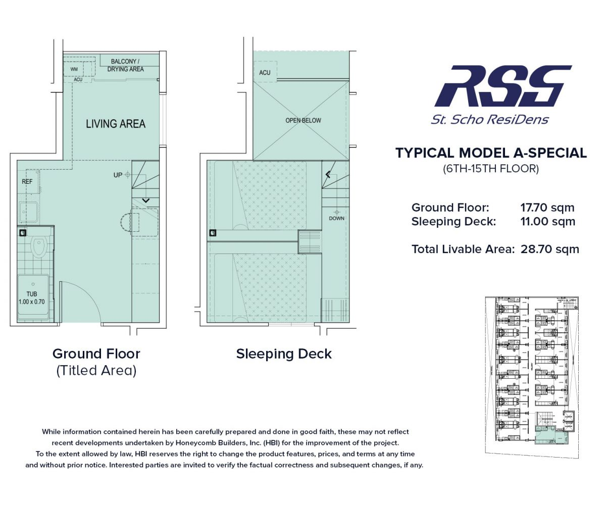 Floorplan of RSG St. Scho ResiDens Typical Model A-Special Unit