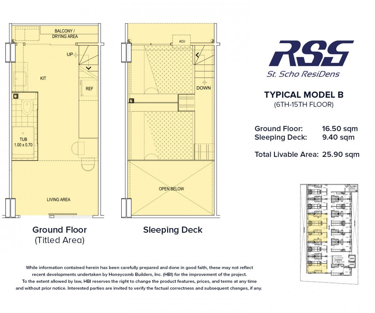 Floorplan or RSG St. Scho ResiDens Typical Model B Unit