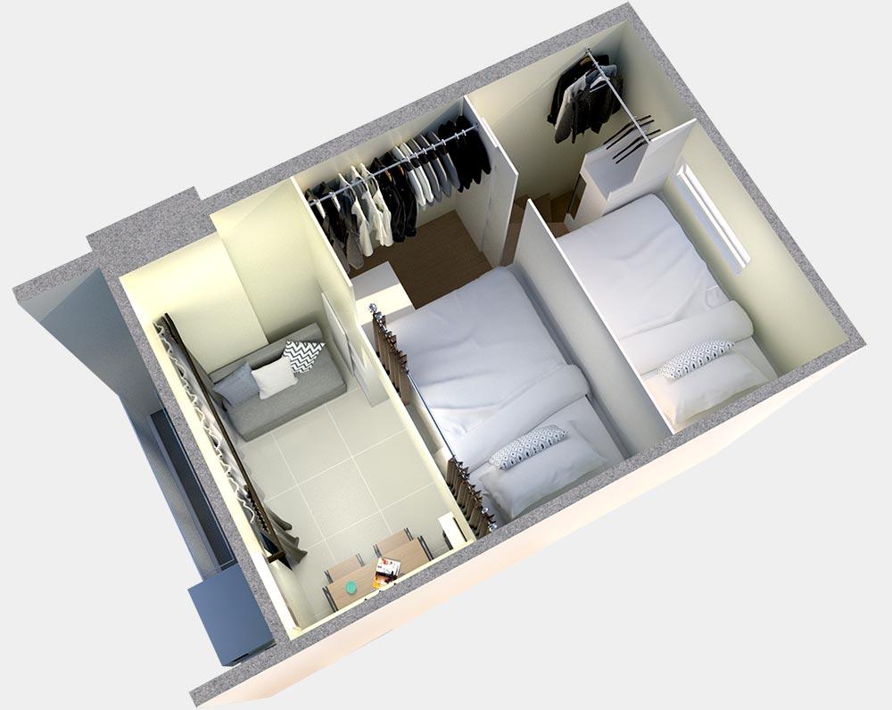 2 bedroom loft interior